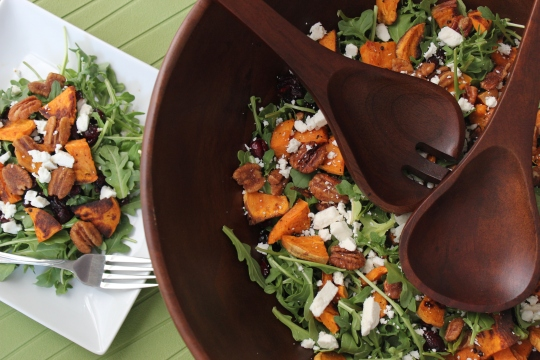 Arugula Salad with Feta, Sweet Potato, Cranberry and Candied Pecans