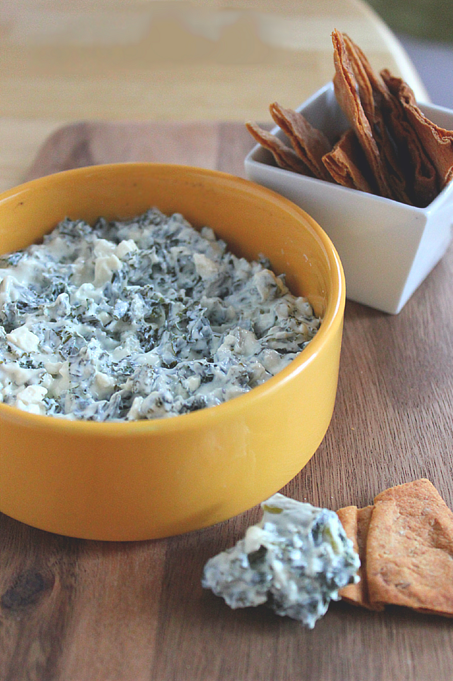 Skinny Kale & Feta Dip with Homemade Pita Chips
